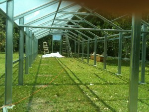 Metal greenhouse framework