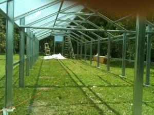Metal greenhouse framework