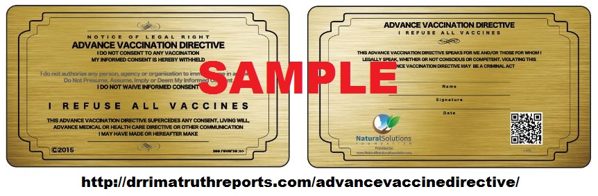 Advance Vaccine Directive:I Do Not Consent! :: Dr. Rima Truth Reports